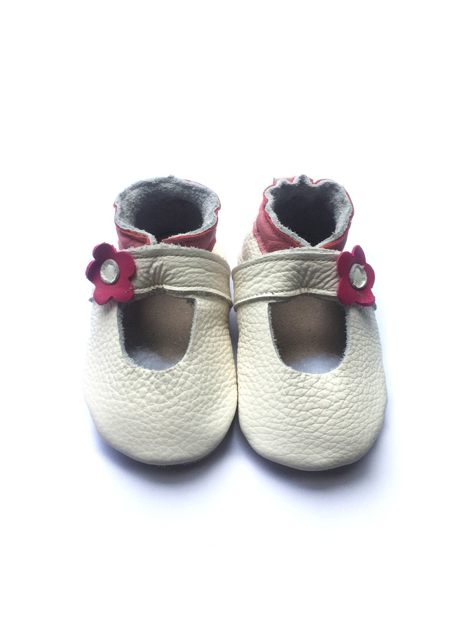 Baby  Leather Shoes - Cream / Red Flower