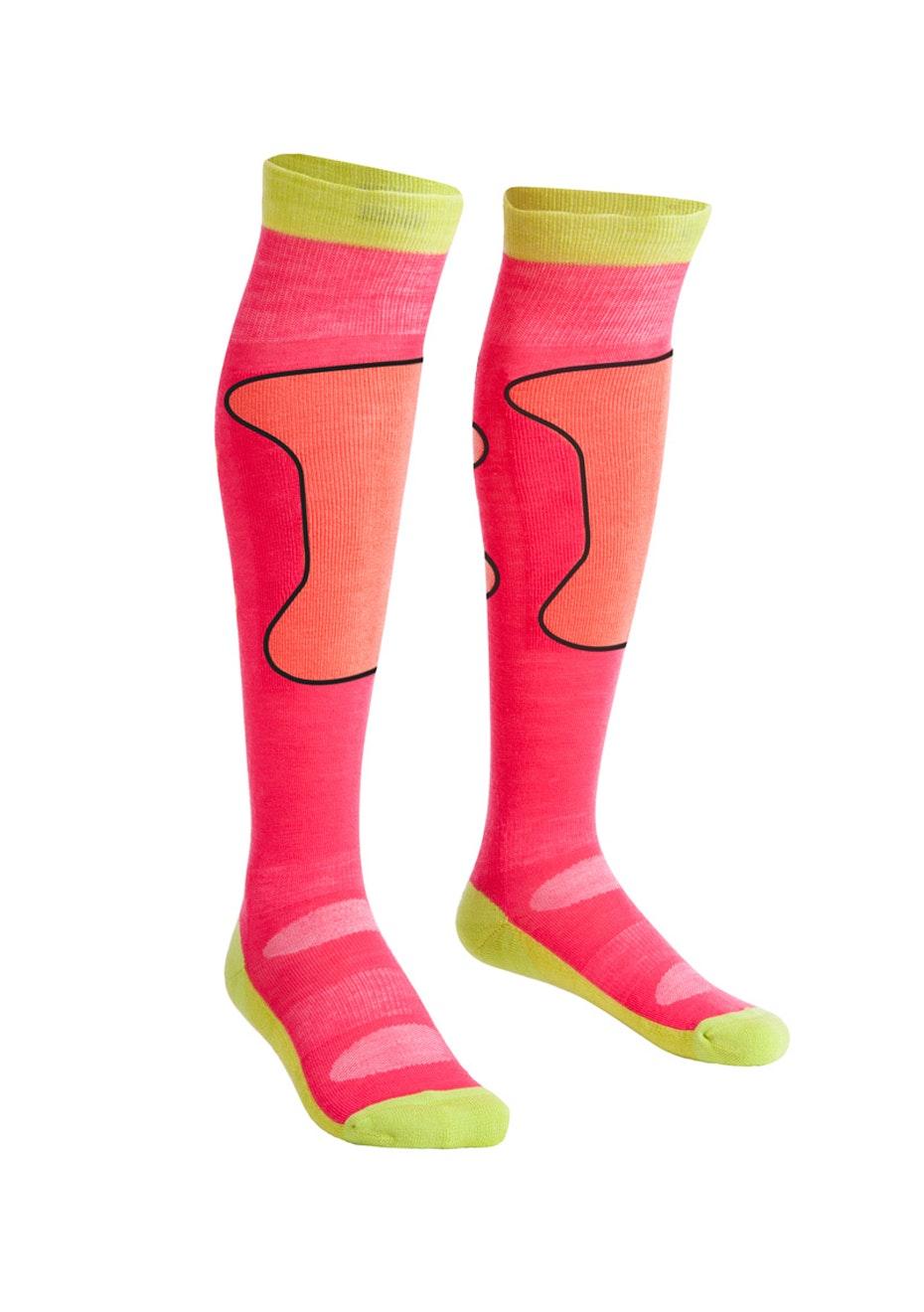Mons Royale - Pro Lite Tech Sock - Pink / Coral / Lime