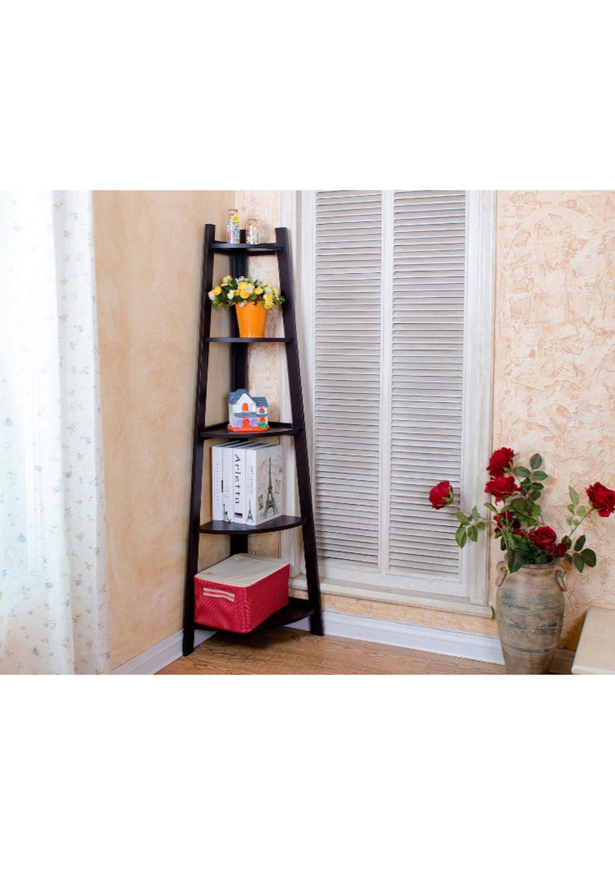 5 Tier Wooden Wall Corner Shelf  Dark Brown  Affordable