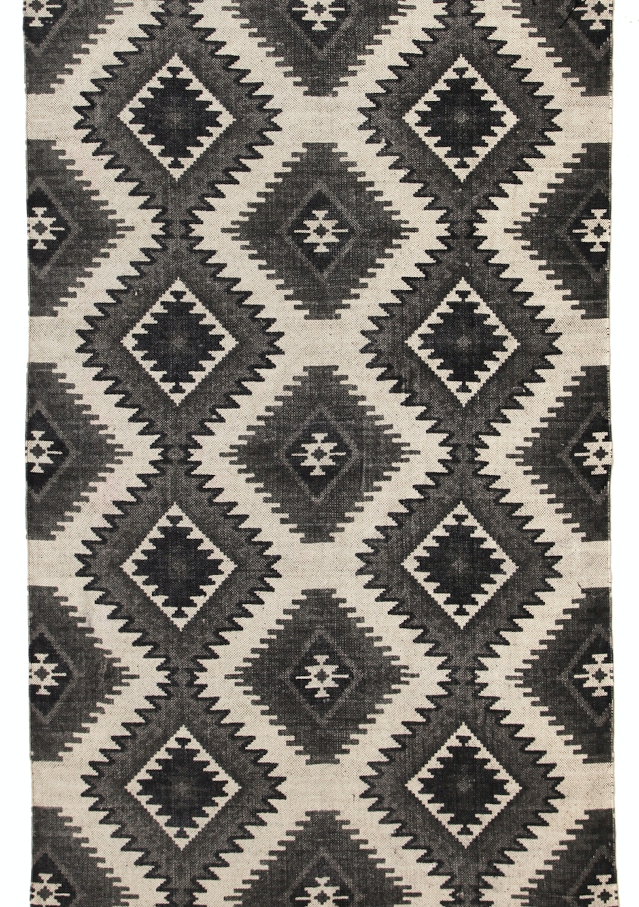 Logan b w stonewashed cotton tribal diamond fringed rug 270x180cm rugs 299 under onceit