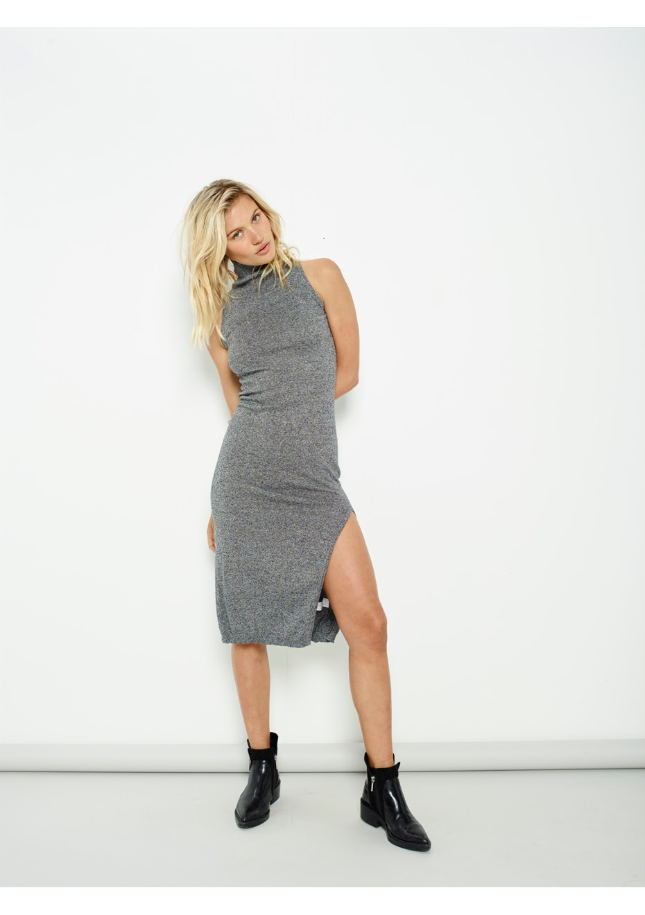 MINKPINK - H-Neck Sleeveless Dress - Grey Marle