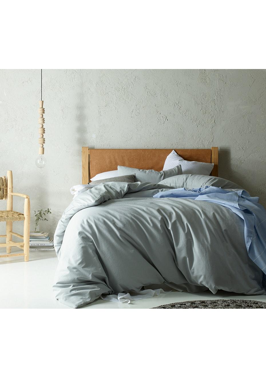King Bed Silver Ash Linen Cotton Quilt Cover Set