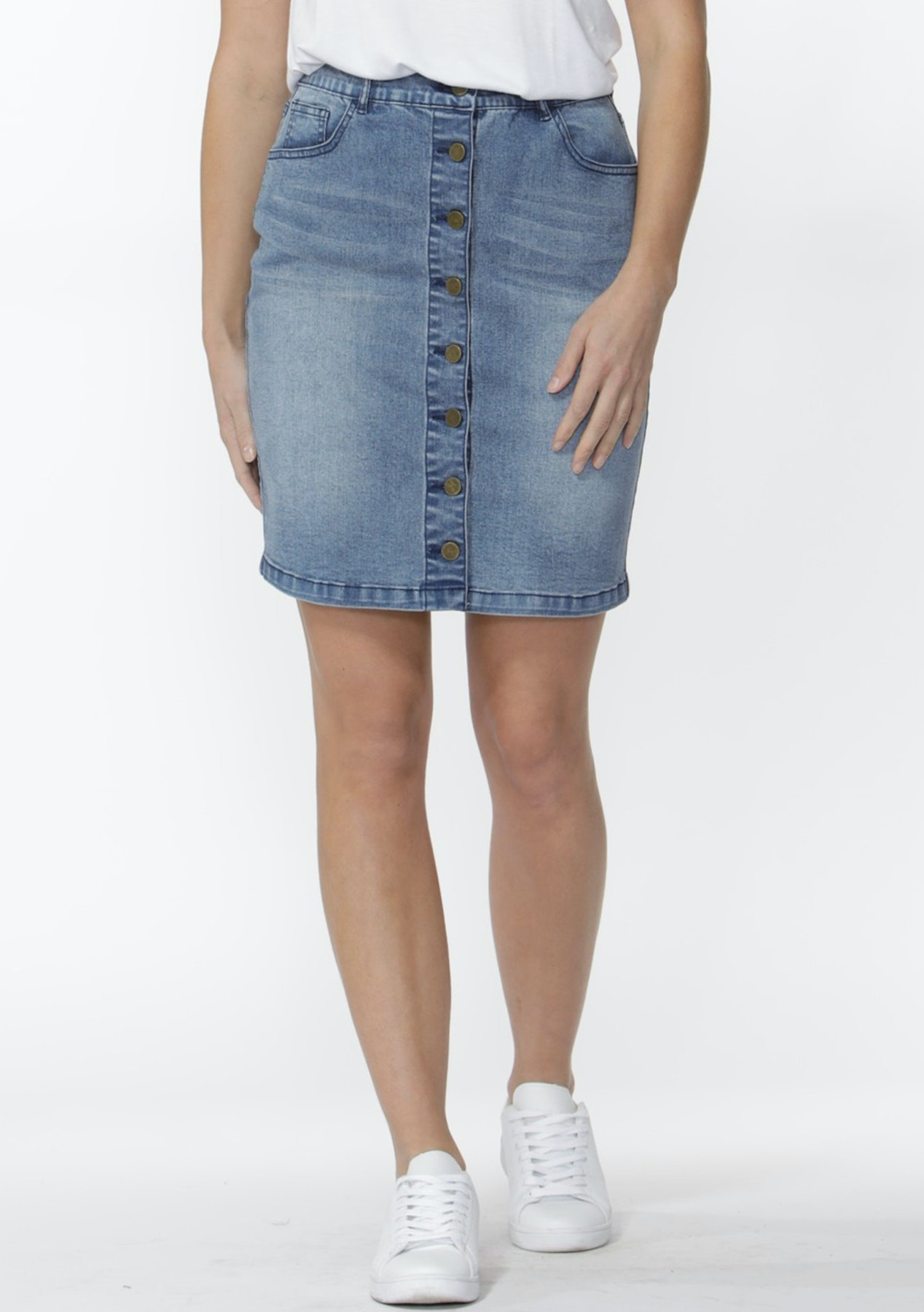 4e998868df Sass - Seb Button Down Denim Skirt - Mid Indigo - The BIGGEST EVER Sass,  Fate and Betty Basics Sale - Onceit
