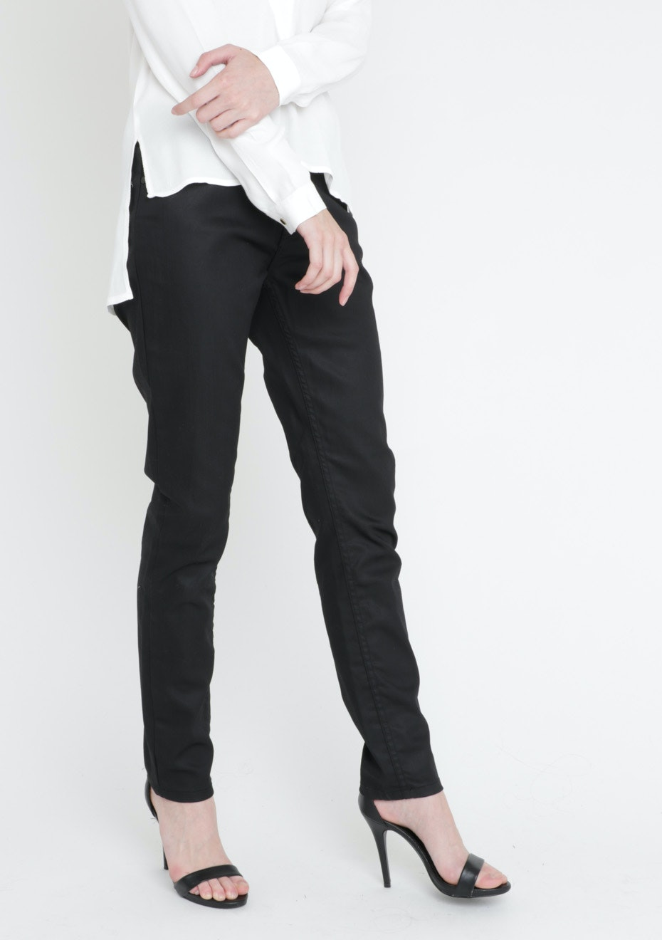 Sable Straight Coated Jeans Black