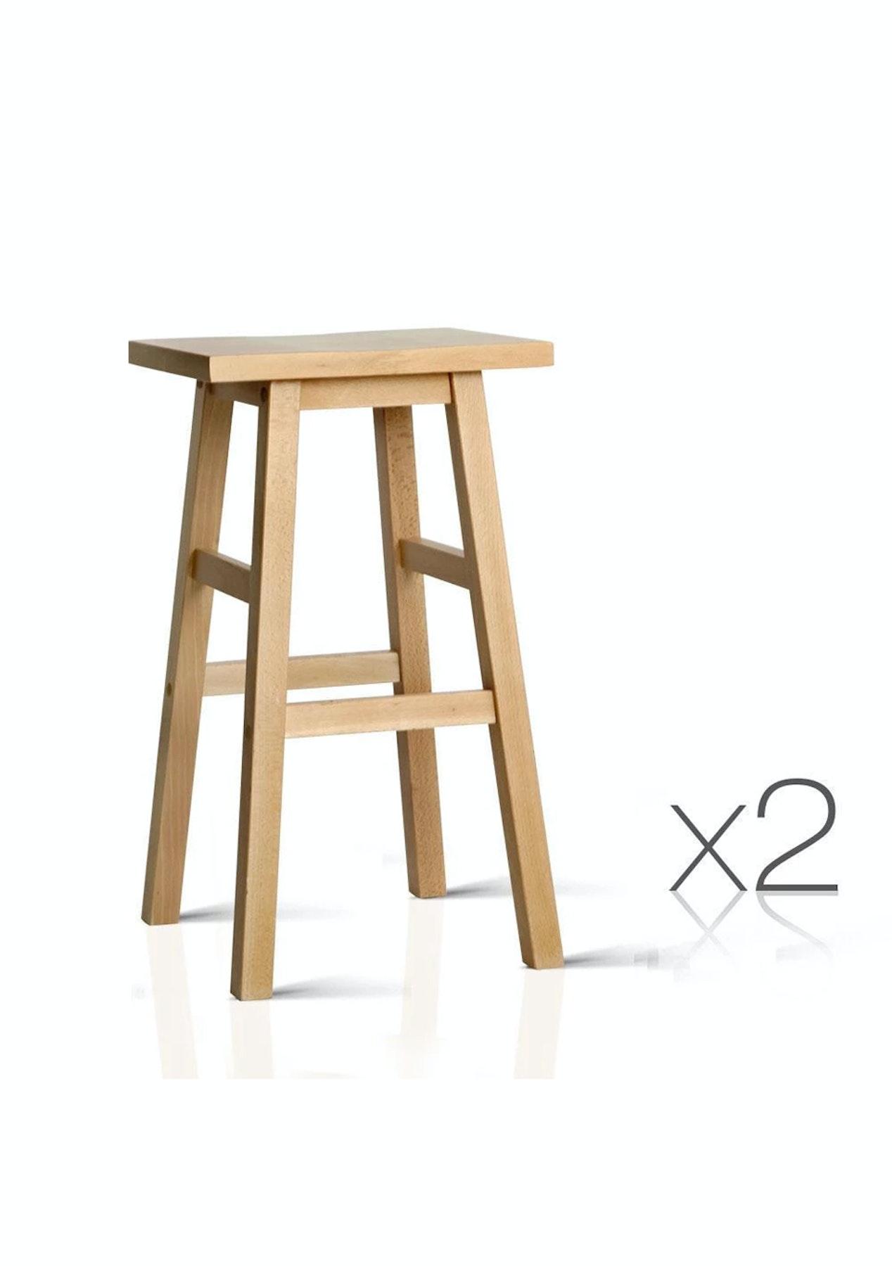 Terrific Artiss Set Of 2 Wooden Backless Bar Stools Natural Inzonedesignstudio Interior Chair Design Inzonedesignstudiocom