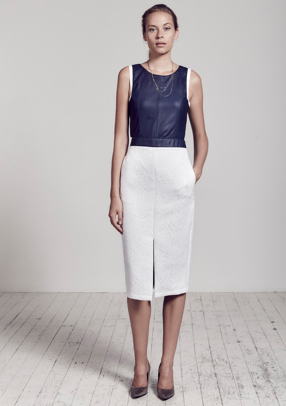 West 14th - Audrey Dress - Mix Material   - White + Blueberry Leather
