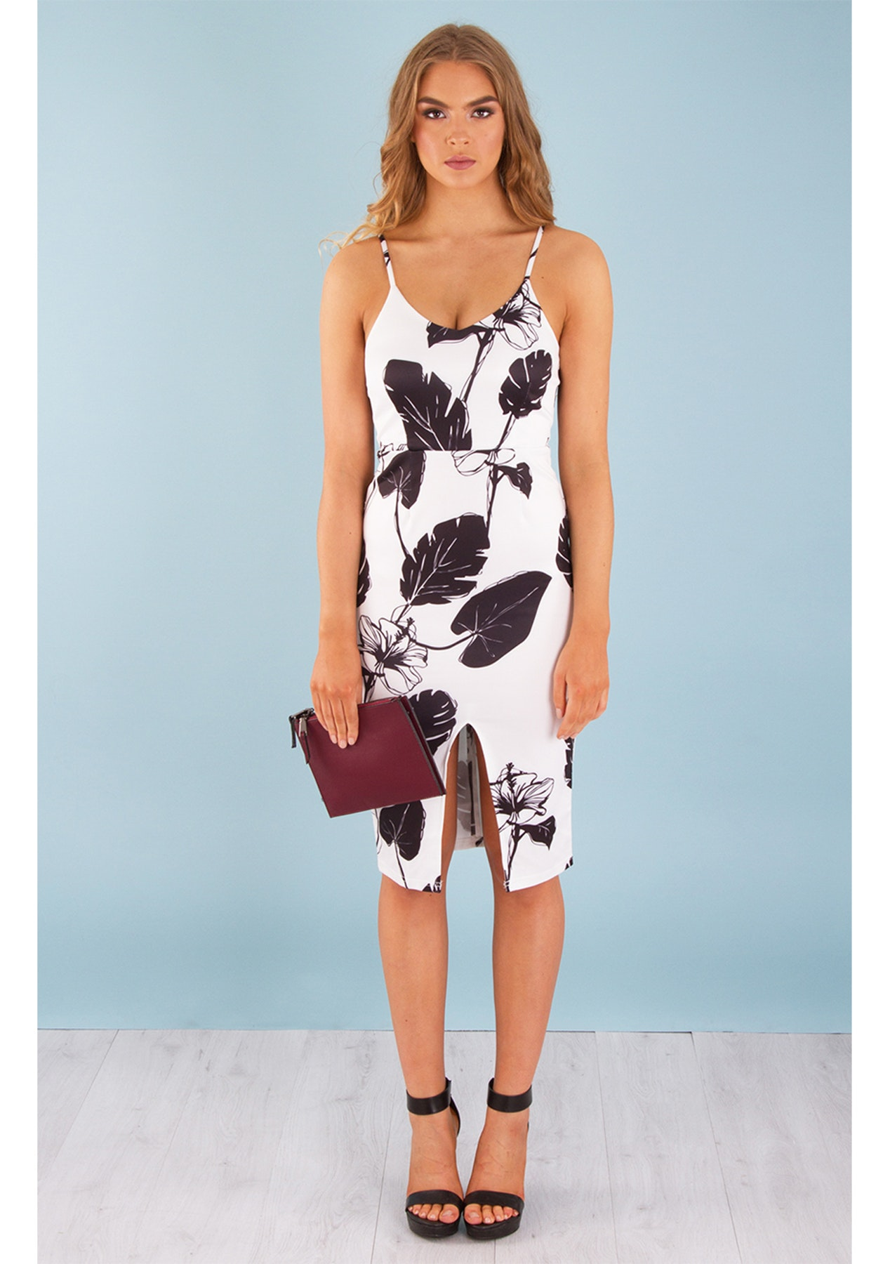 Printed Split Front Cocktail Dress - Black/White - Party Ready - Onceit