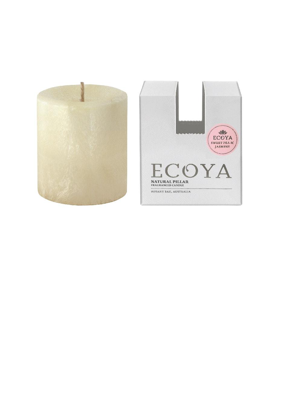 Ecoya - Pillar 75x85 Natural - Sweet Pea & Jasmine