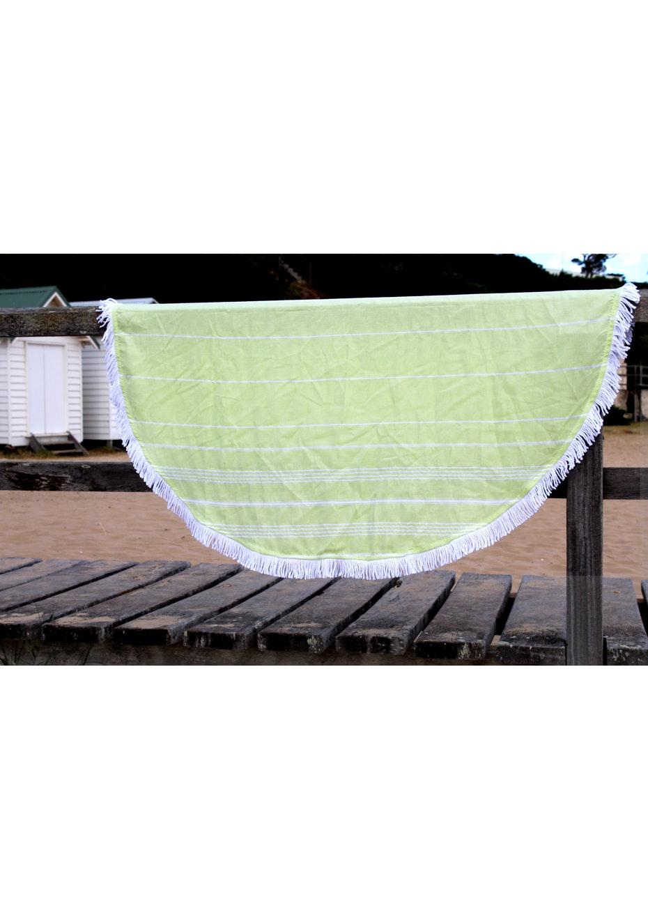 Round De La Mer Lime Green Towel