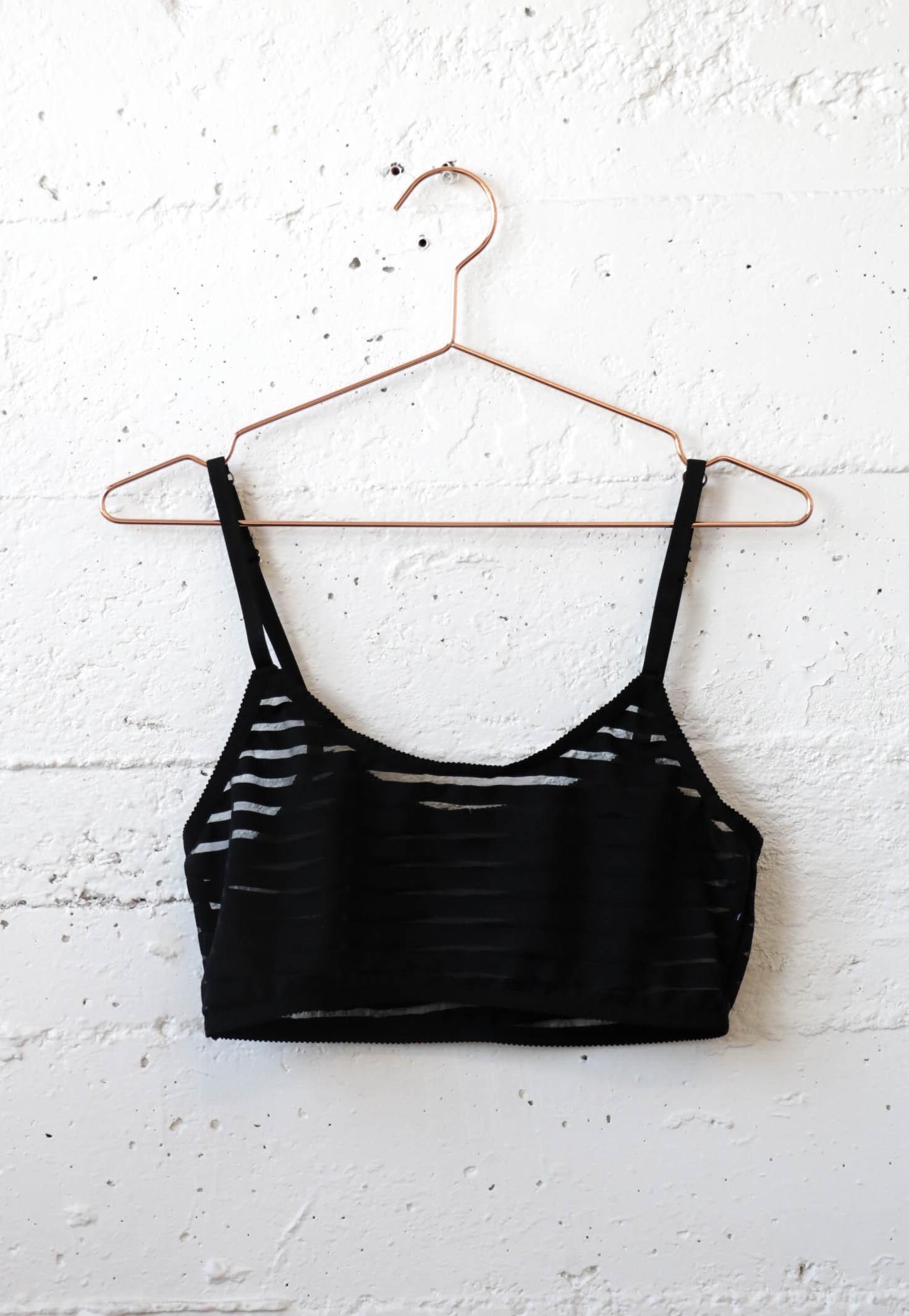 Sheer Stripe Bra - Black