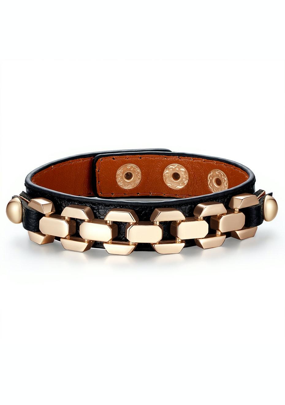 Genuine Cow Leather Link Bracelet -BLK