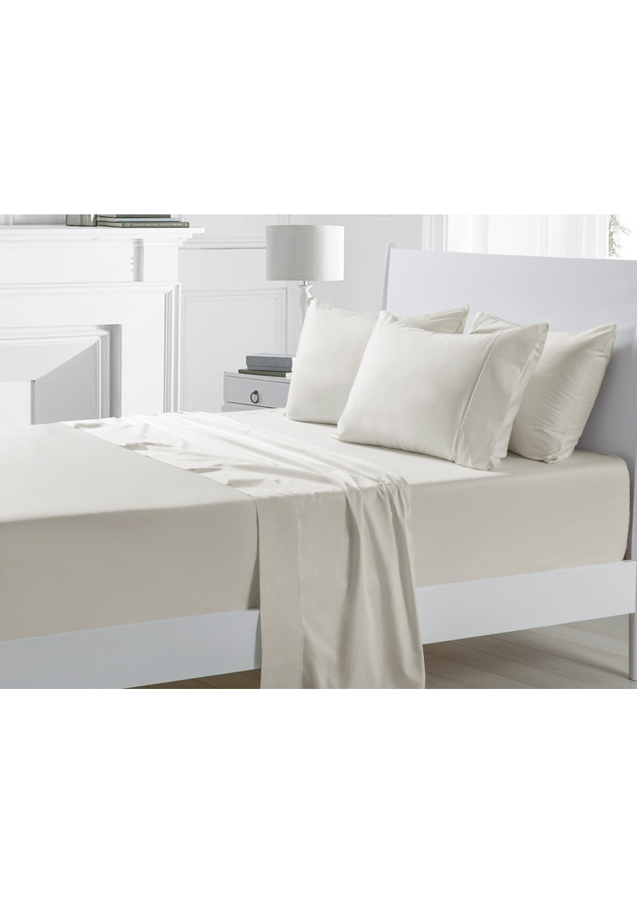 Silver 300TC Cotton Sateen Sheet Set - Queen Bed