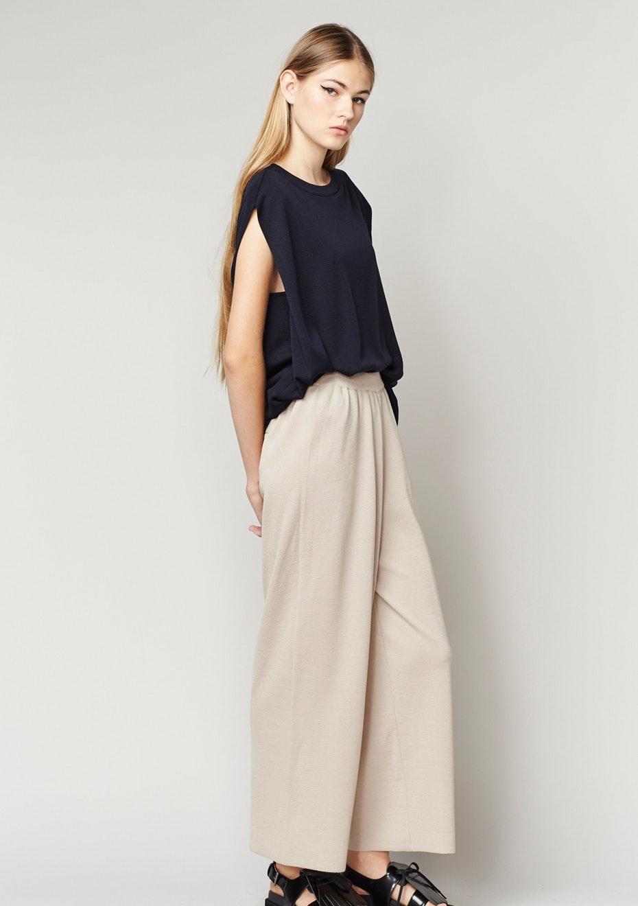 Achro - Ribbed Waist Knit Pants - Beige