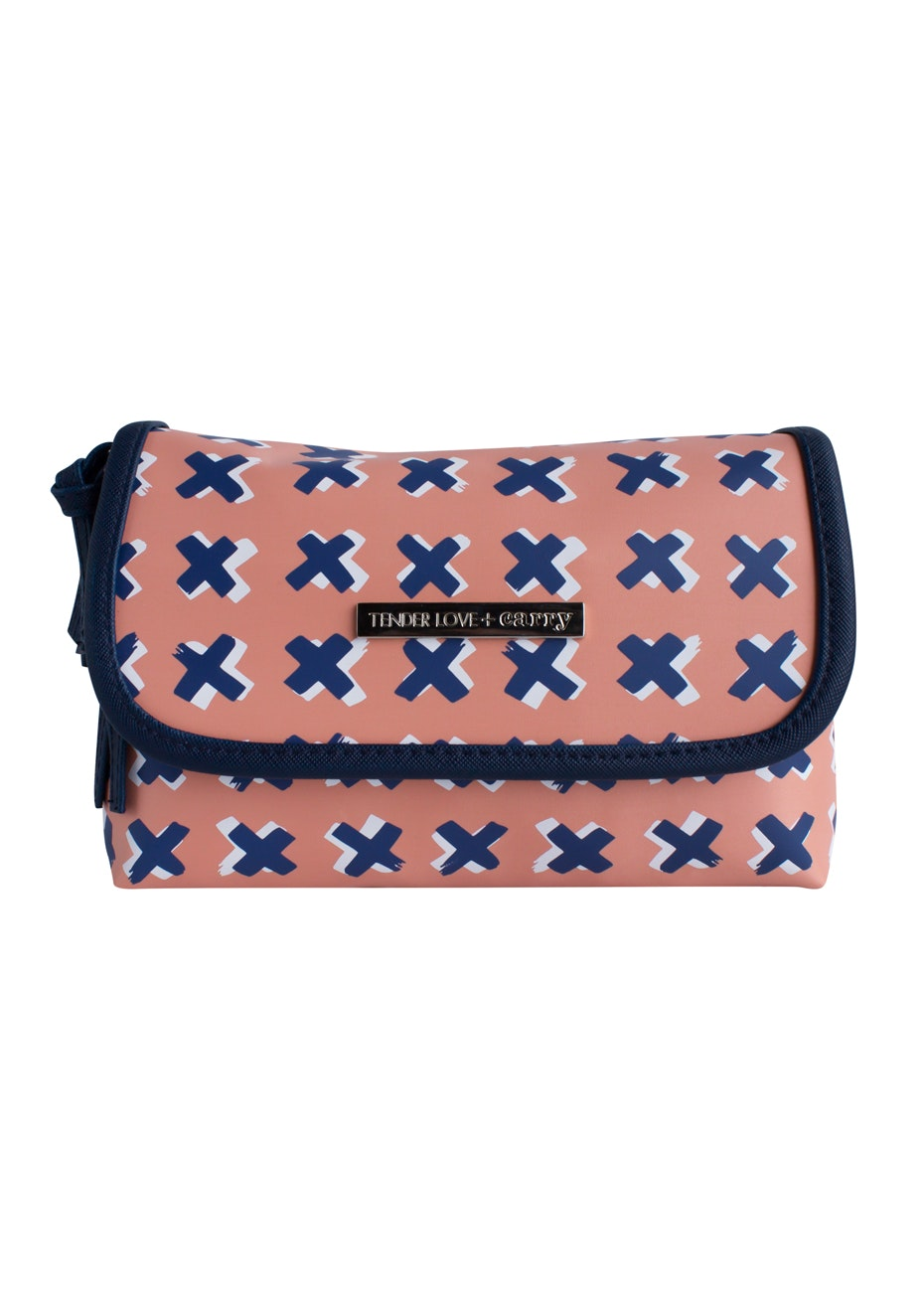 TL+C - Kiss Kiss Folding Pouch - Peach/Blue