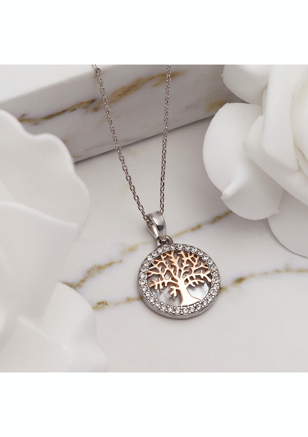6f4012add6112 Rose Gold Maple Tree of Life Necklace with Swarovski Crystals
