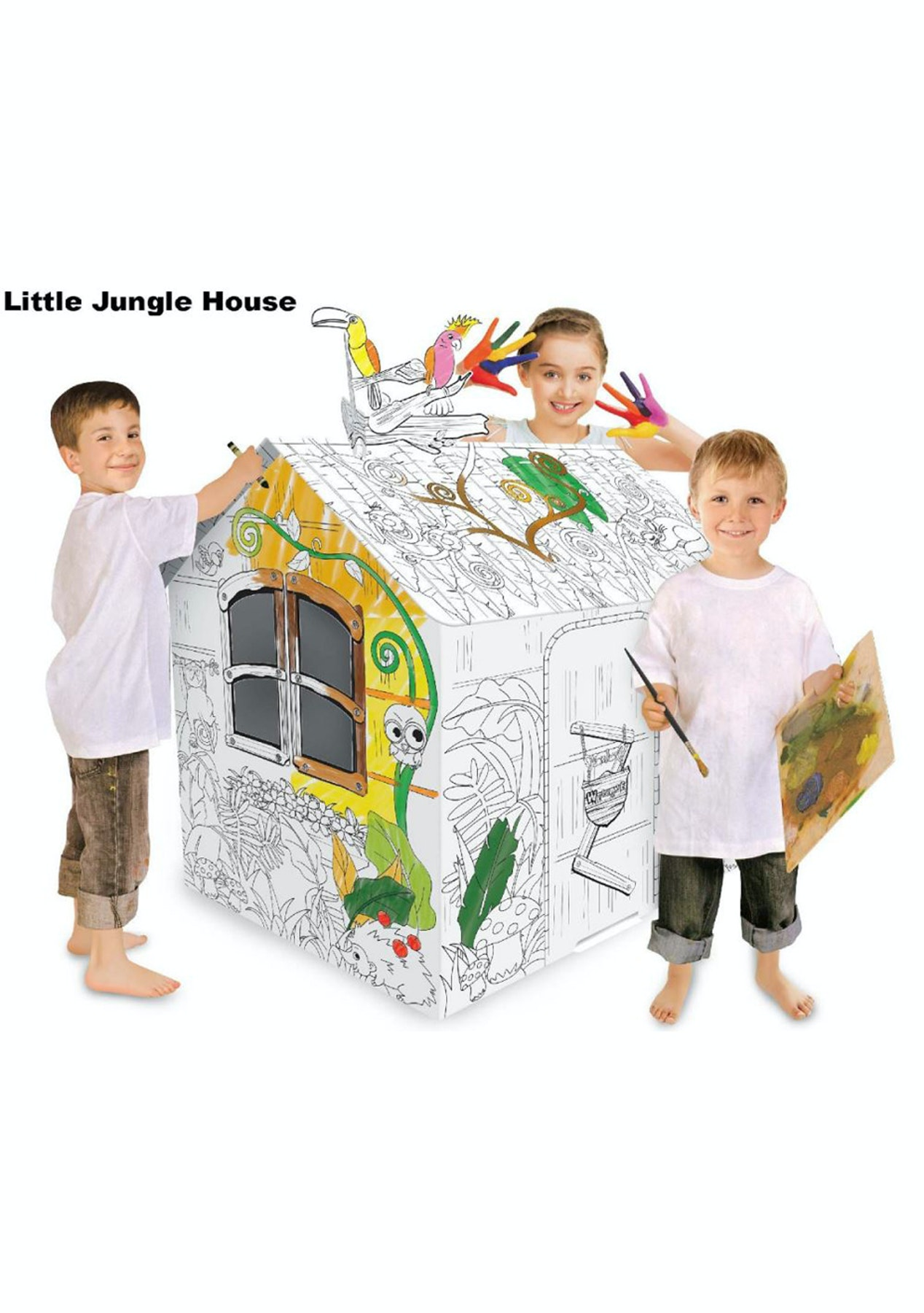 Coloring Cardboard Playhouse - Little Jungle House - Kids Holiday ...