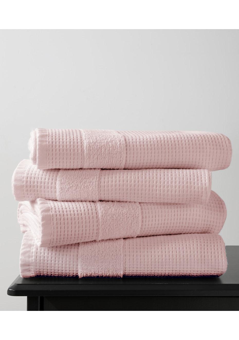 2 Pack Blush 600gsm Waffle Bath Towel