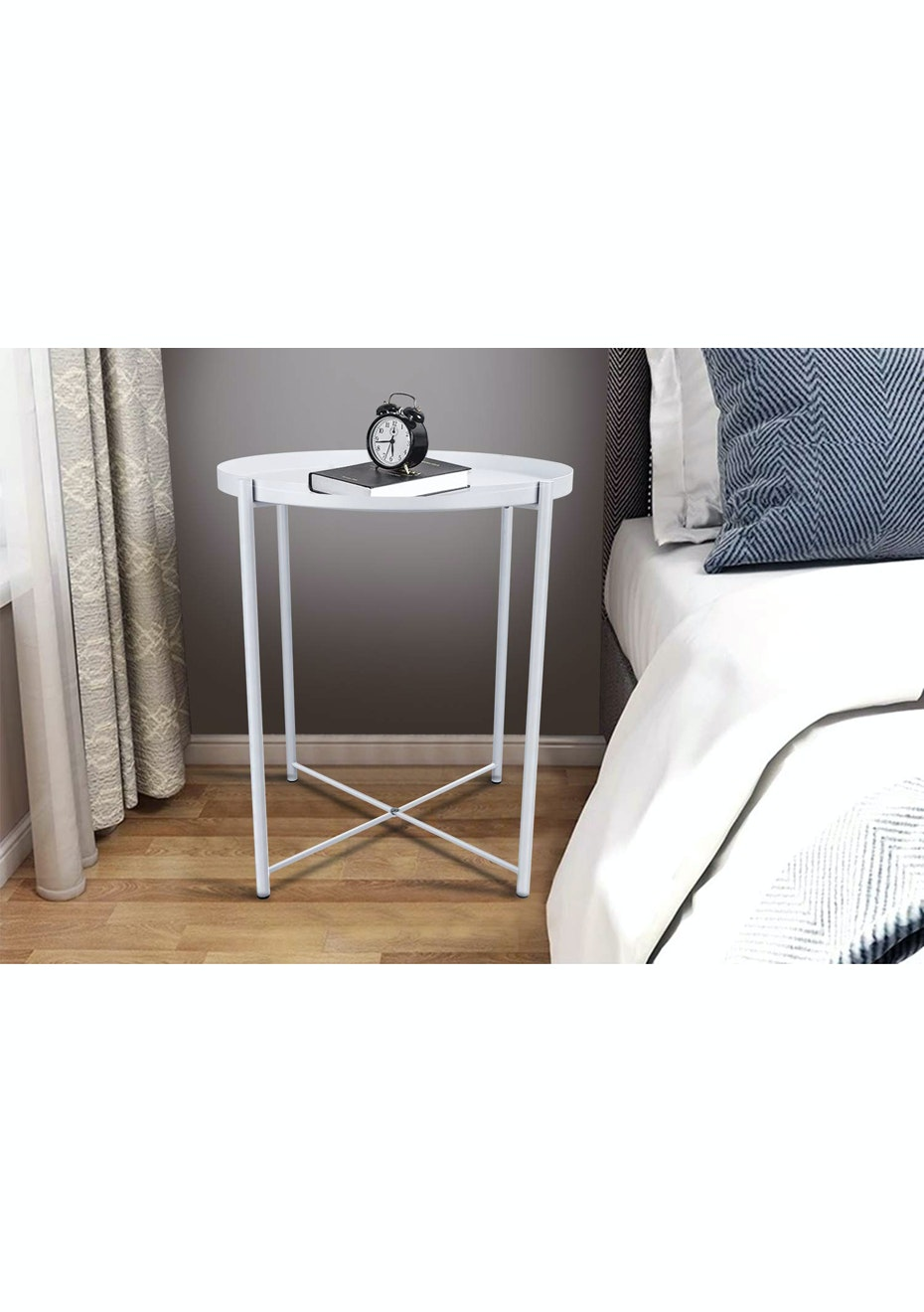 Minimalist Round Bedside Table With Removable Tray White