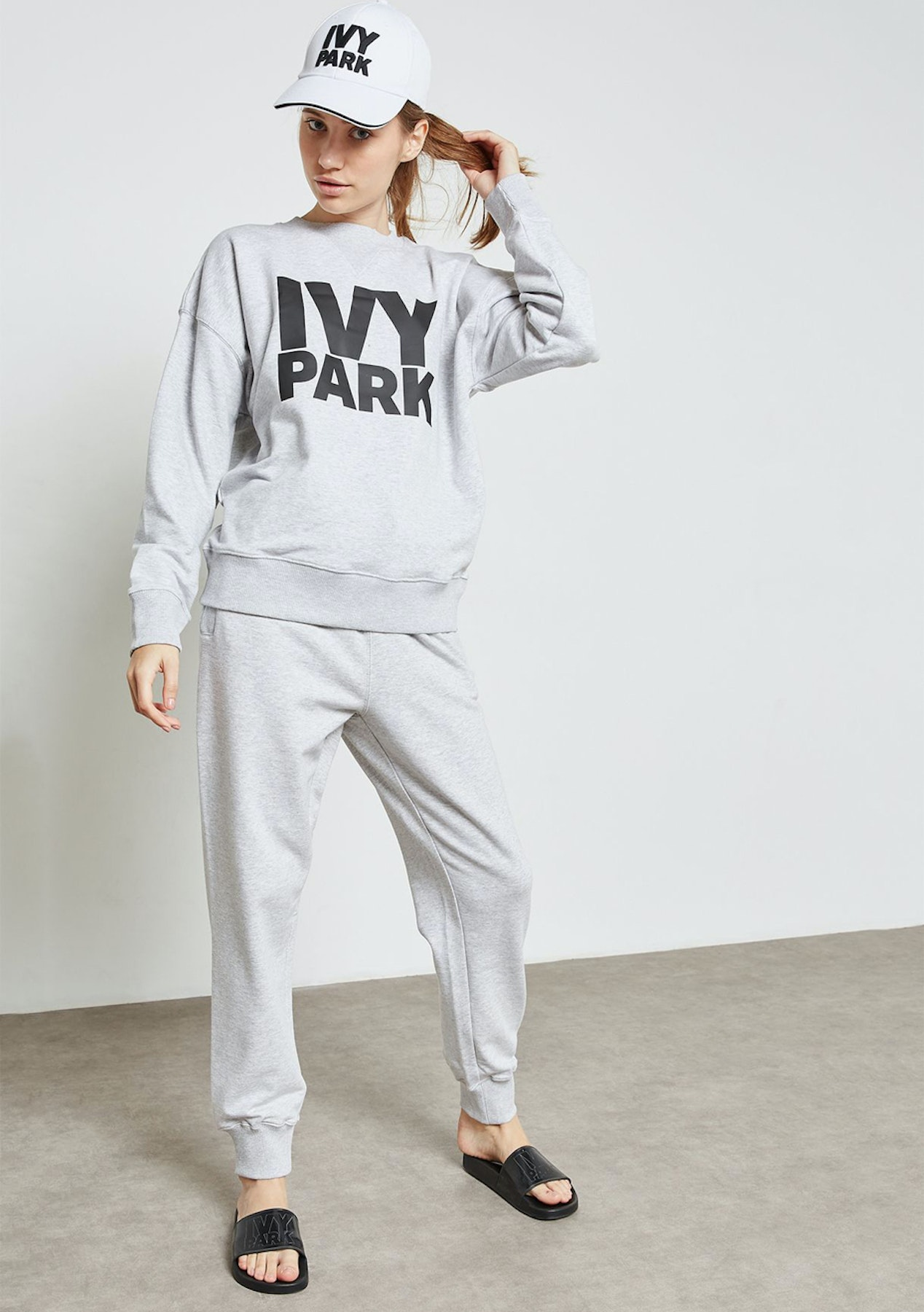 e2828ddd5b7 Ivy Park - Stacked Logo Crew Sweat - Light Grey Marl - New Ivy Park - Onceit