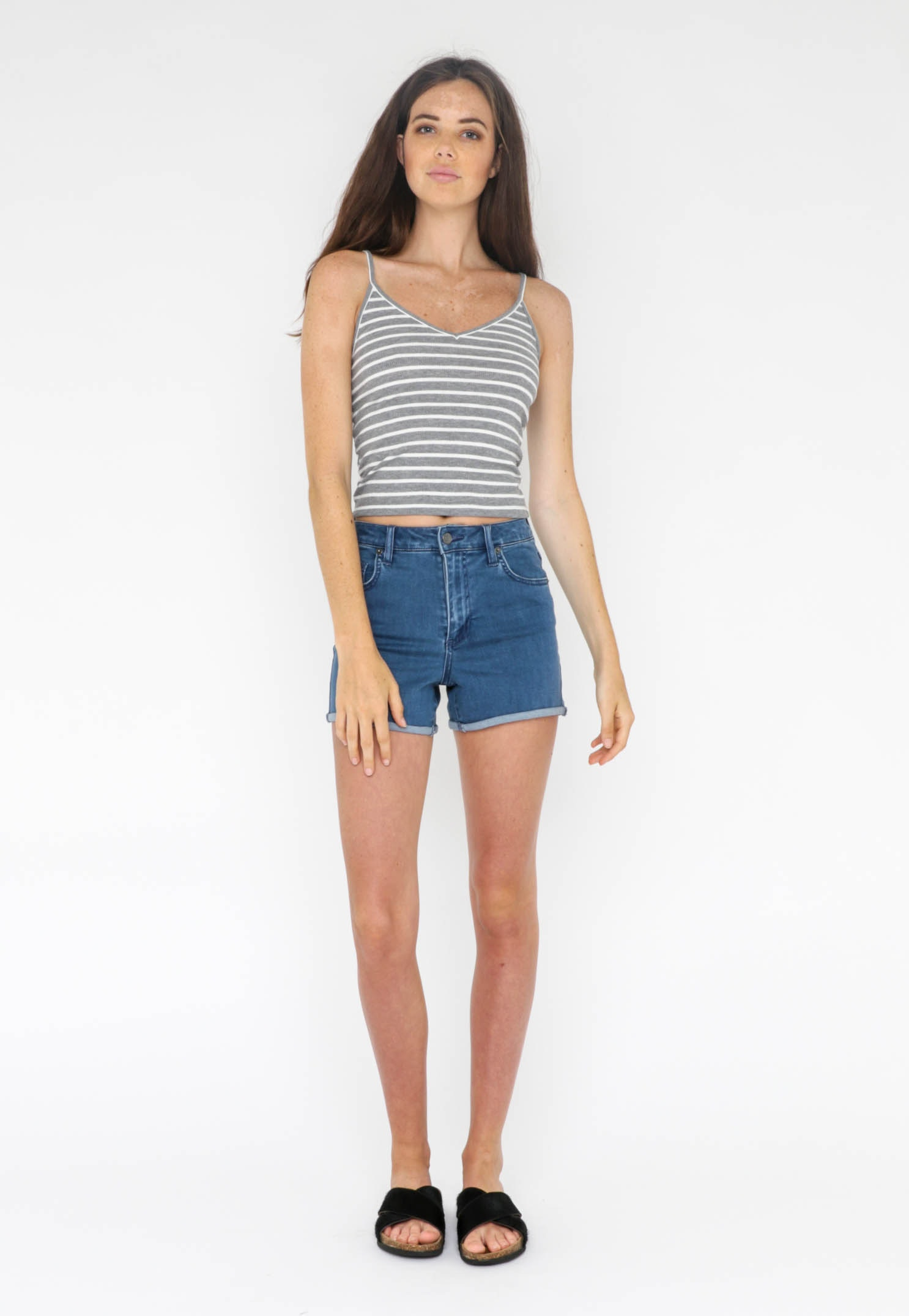 All About Eve  - Chain Reaction Crop Tank - Grey Marle/White Stripe