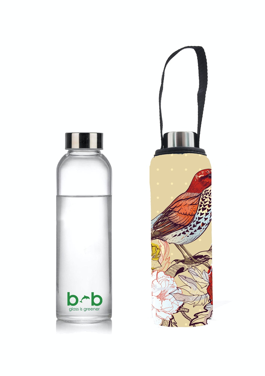 BBBYO - Glass Is Greener Bottle 570 ml + Carry Cover (Bird Print) - 570 ml