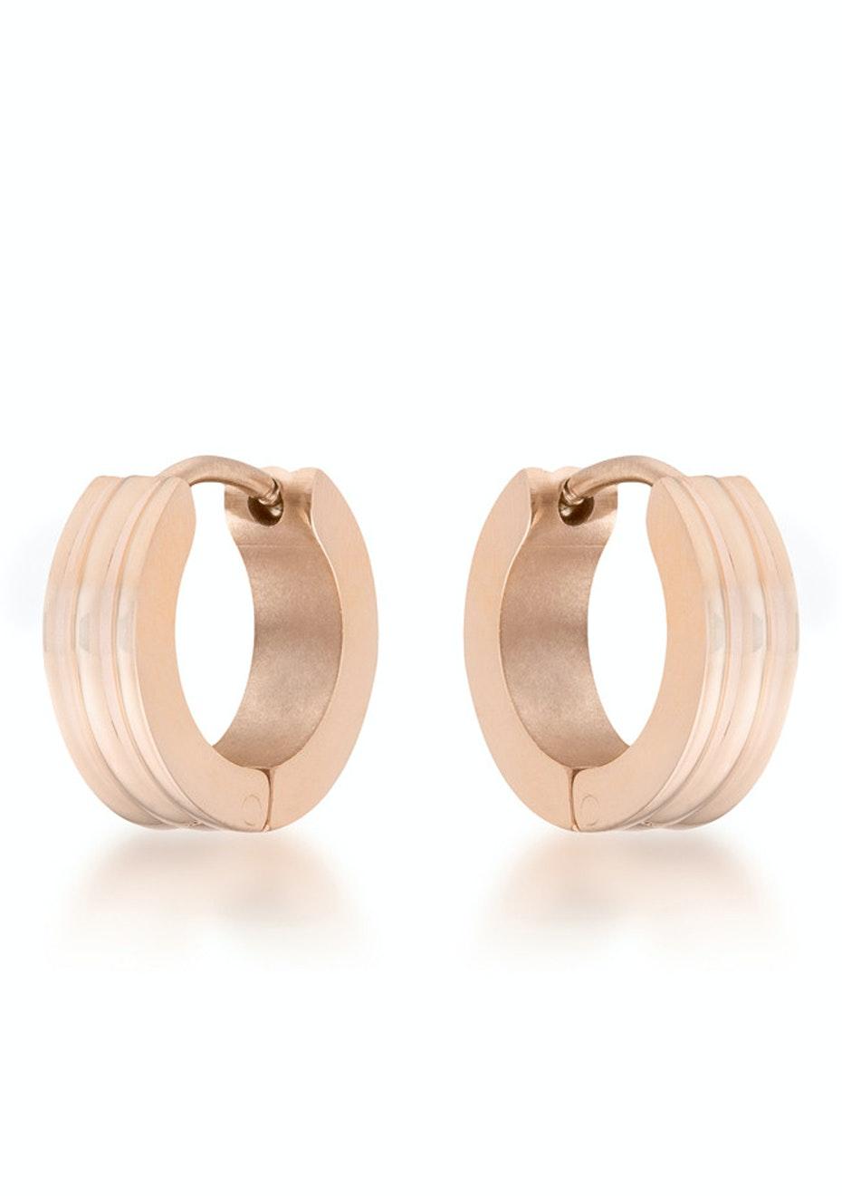 Stainless Steel Hoop Earrings - Rose Gold