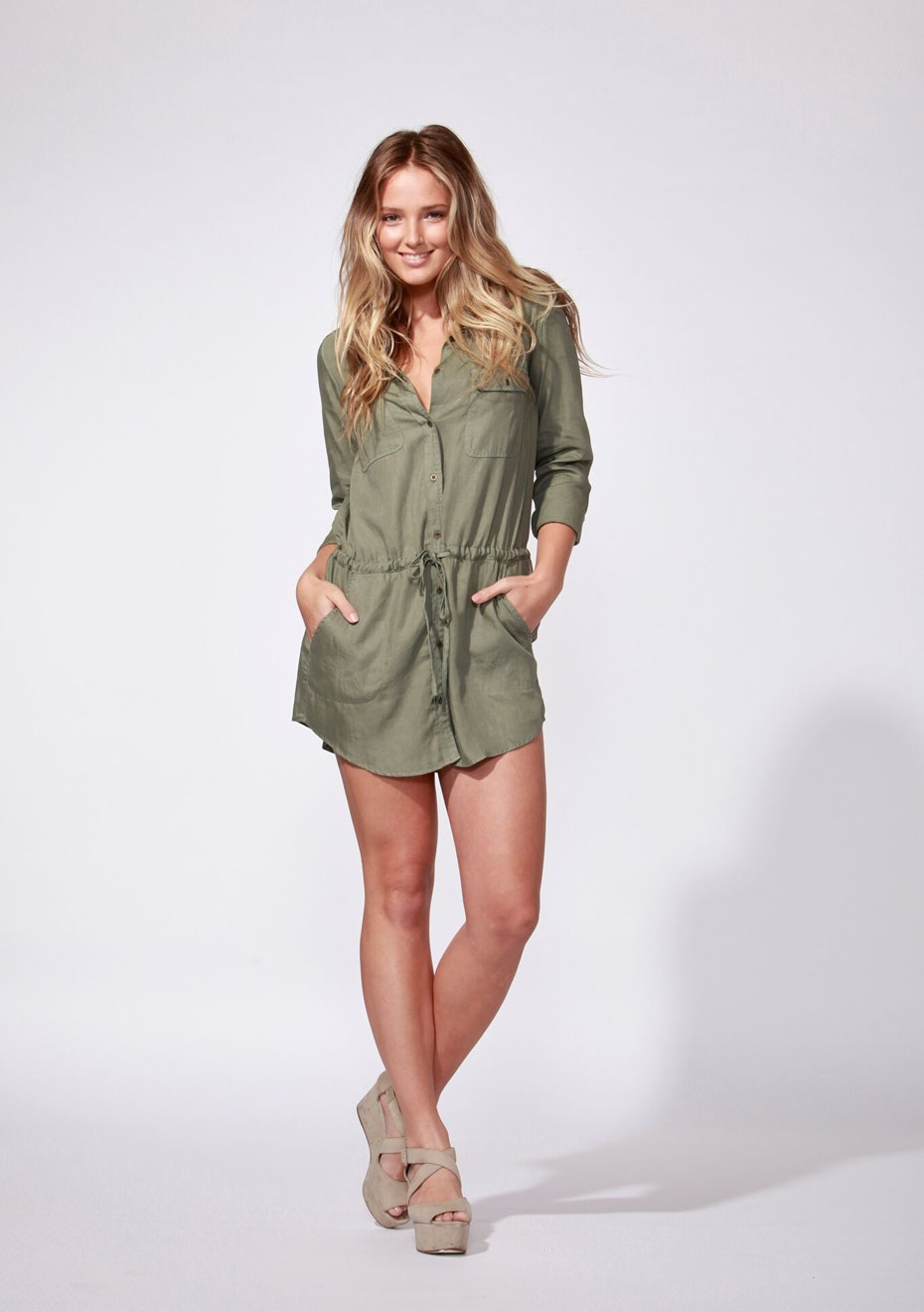 Sass - Montana Shirt Dress - Khaki