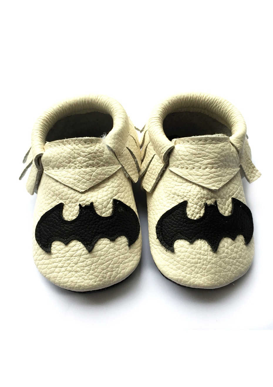 Baby  Leather Shoes - Beige/Black Bat