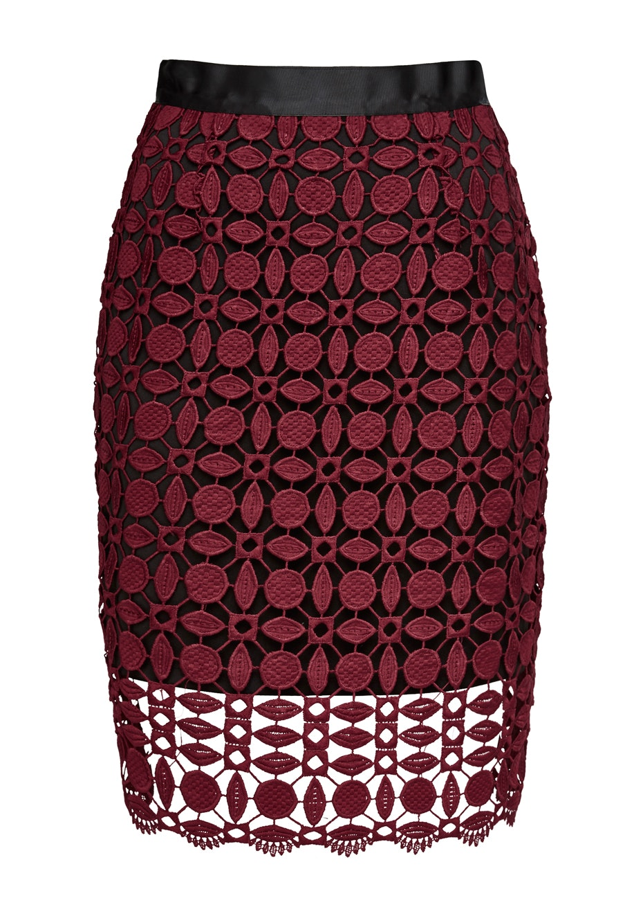 French Connection - Geo Lace Skirt - Bordeaux