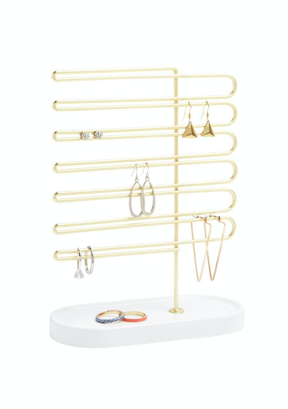 Umbra - Trinket Earring Tree  - White/Brass