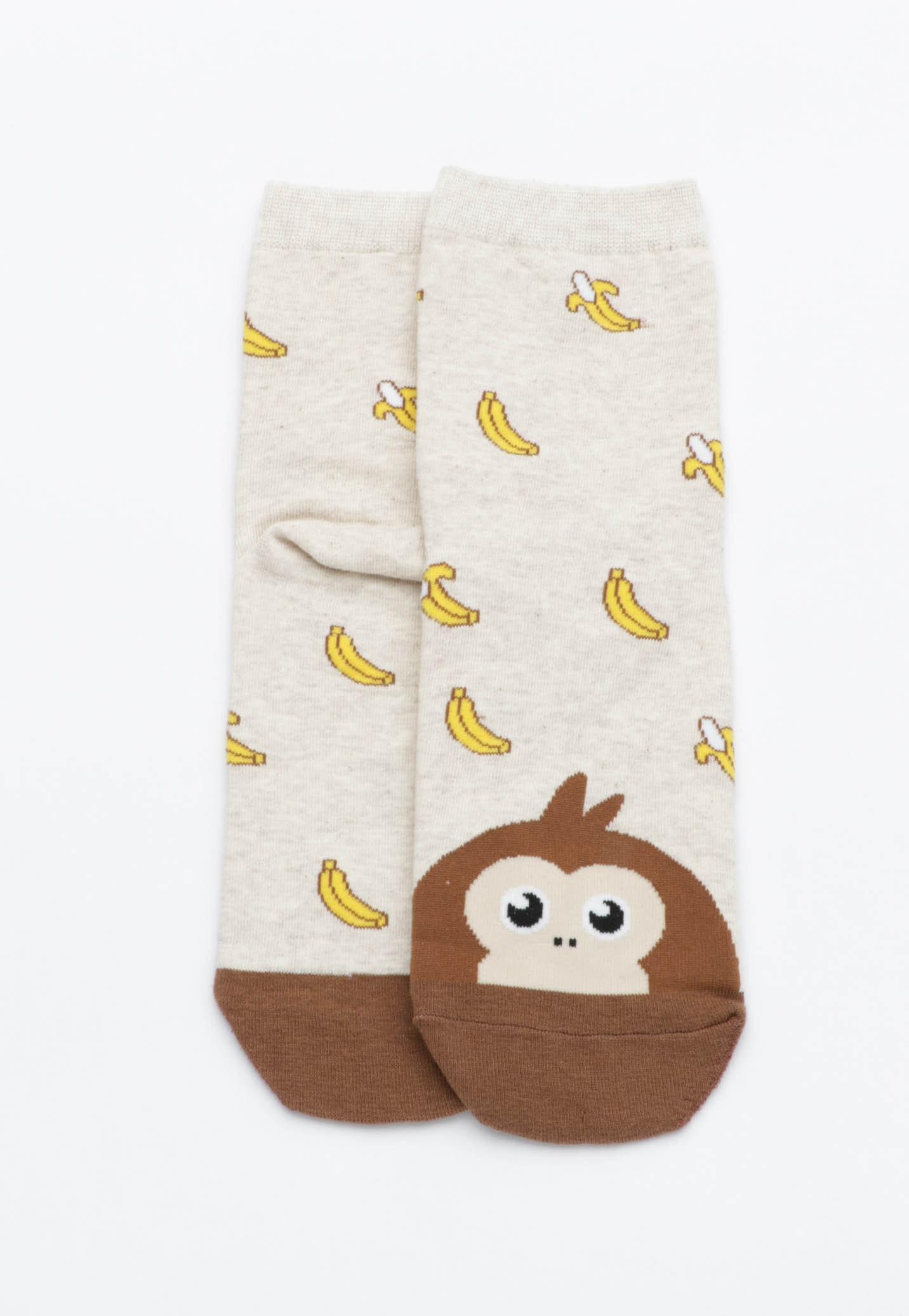 Monkey Banana Socks - Oatmeal