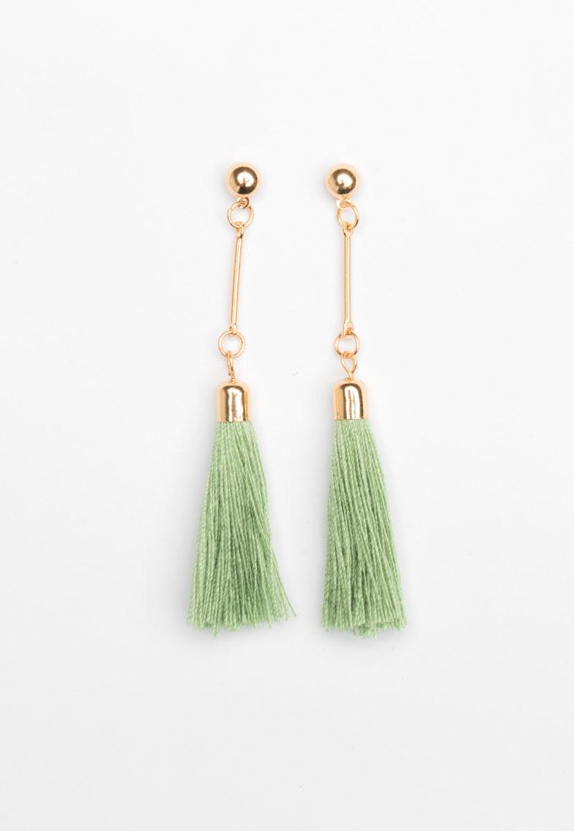 Bar drop Tassel Earrings - Gold/Green