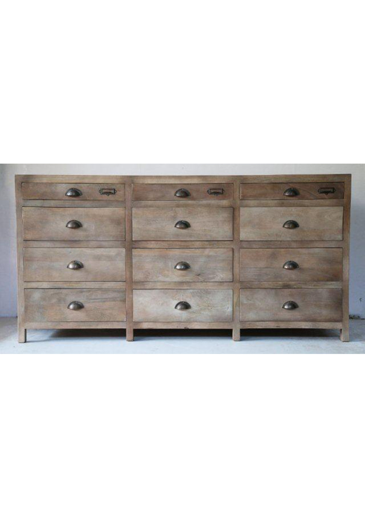 12 Drawer Chest Washed Wood French Style Furniture Edit