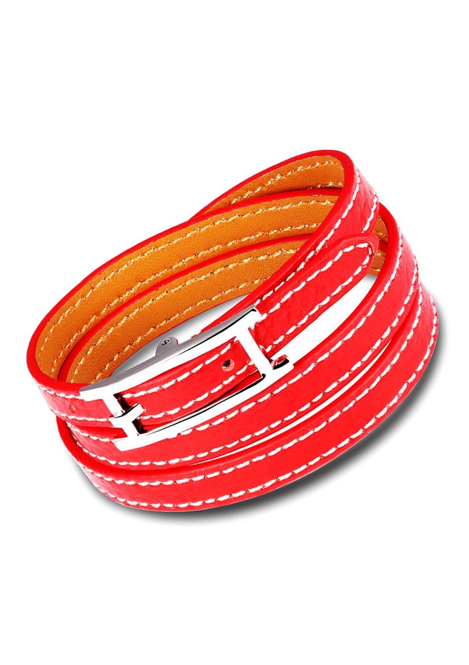 Genuine Leather Wrap Bracelet | Red