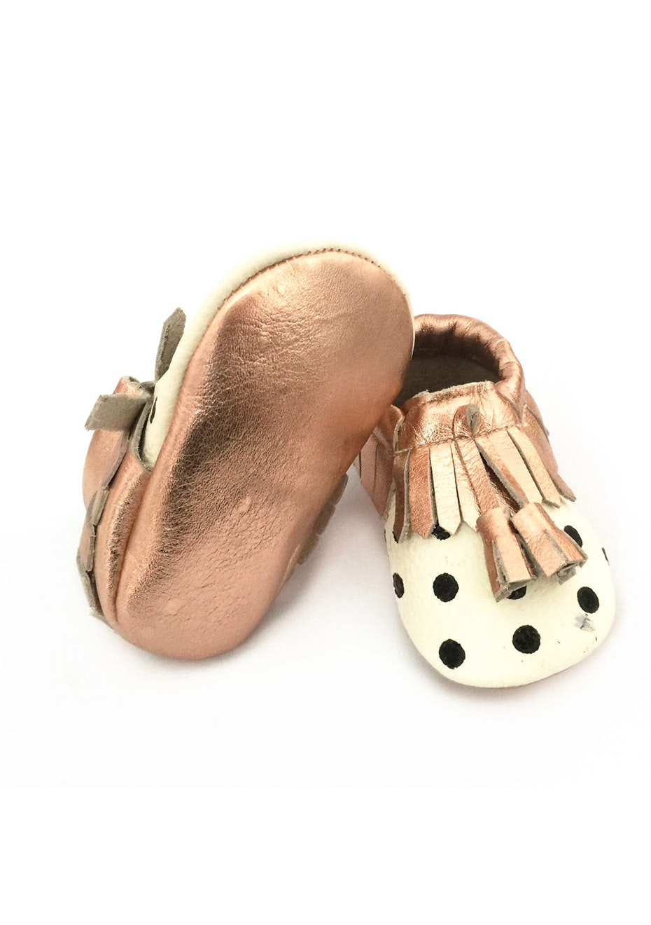 Baby  Leather Shoes - Cream / Black Polka Dot / Rose Gold