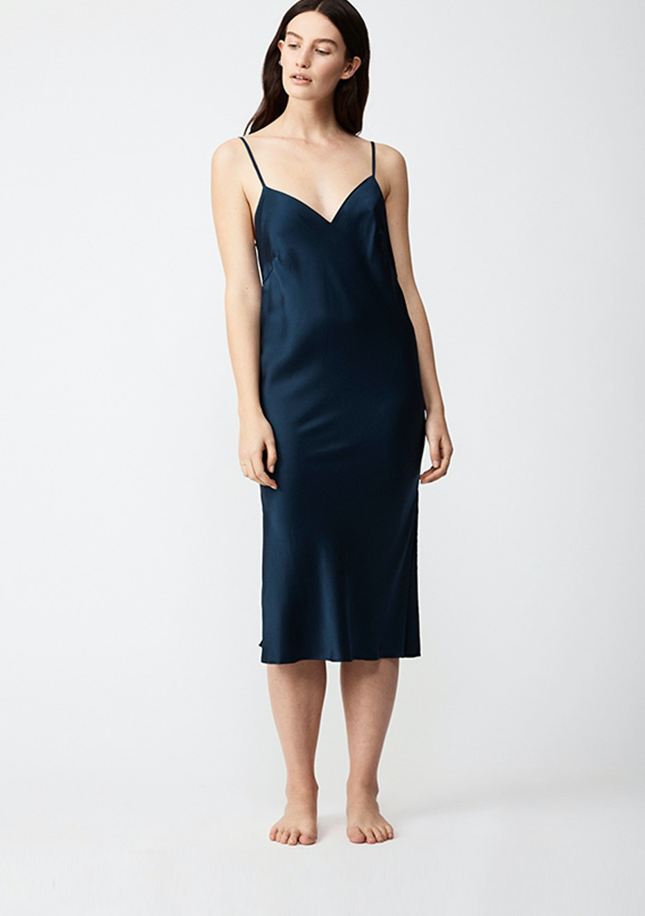 NATALIJA - Silk Slip Dress - Navy