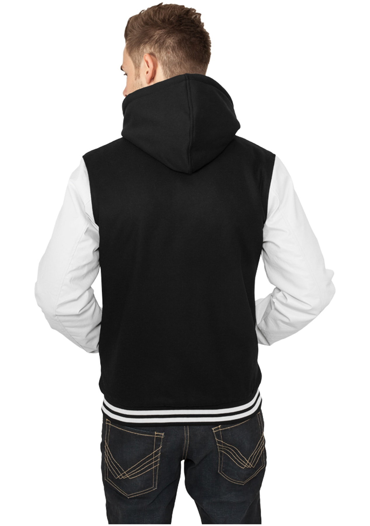 9fdc596c Urban Classics - Hooded Oldschool College Jacket - black/white ...