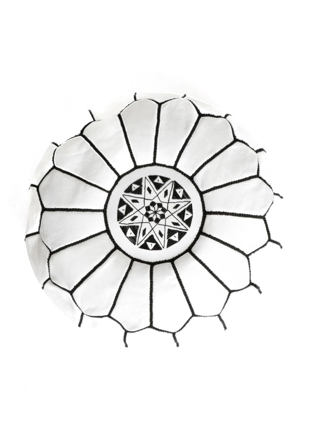 Moroccan Pouf - White w Black Stitching