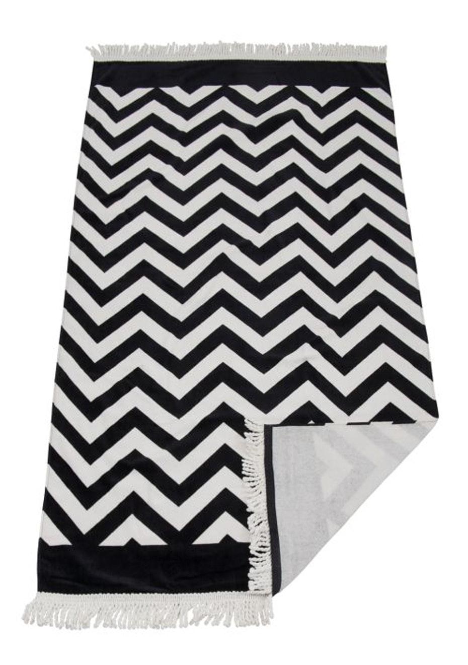 Zig Zag Beach Towel Black With Fringe