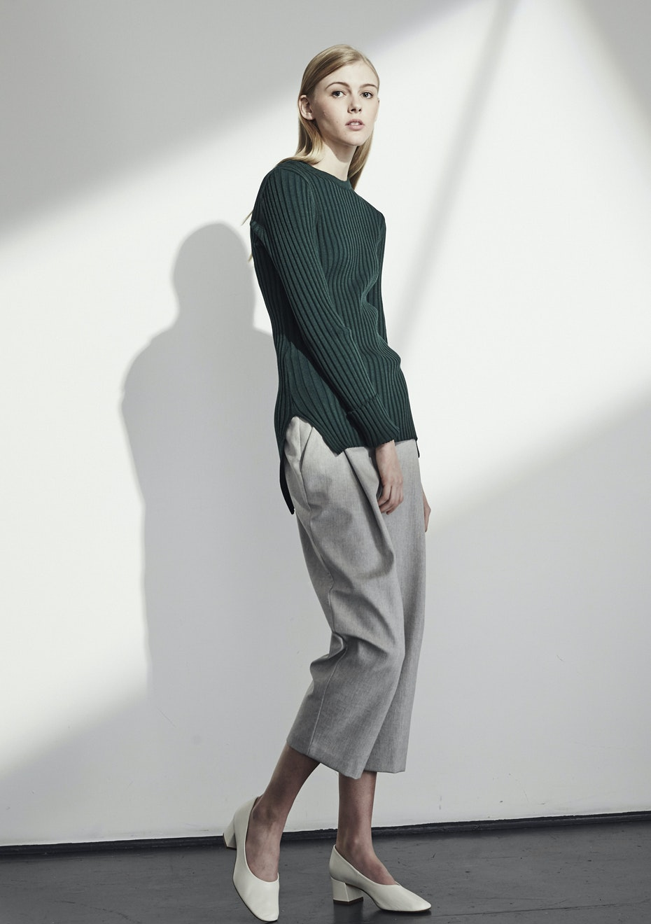 Achro - Long Sleeve Ribbed Sweater - Green