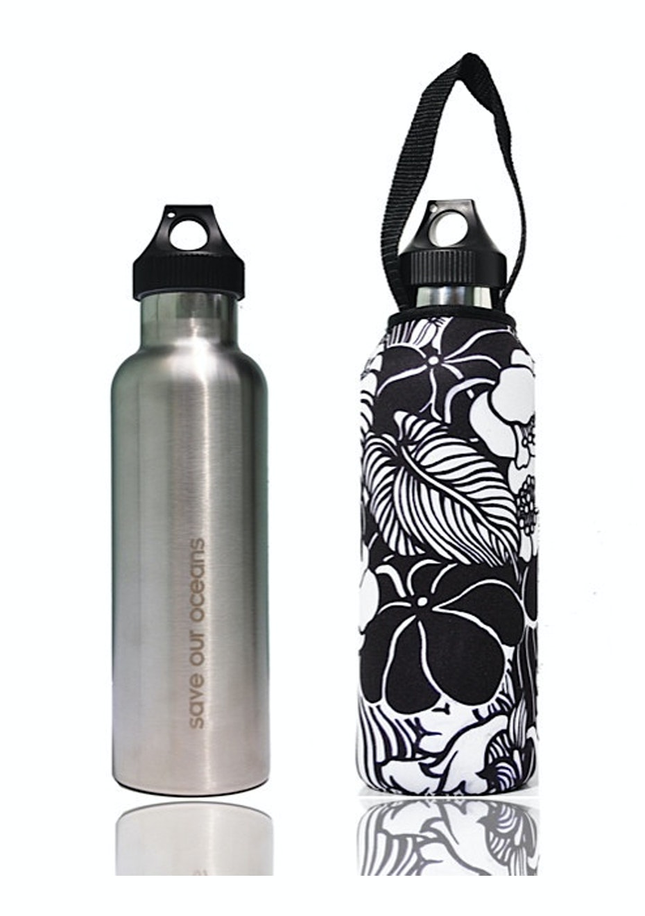 BBBYO - Thermal Traveller Bottle+ Carry Cover (Tropic  Print)- classic cap - 750 ml Silver
