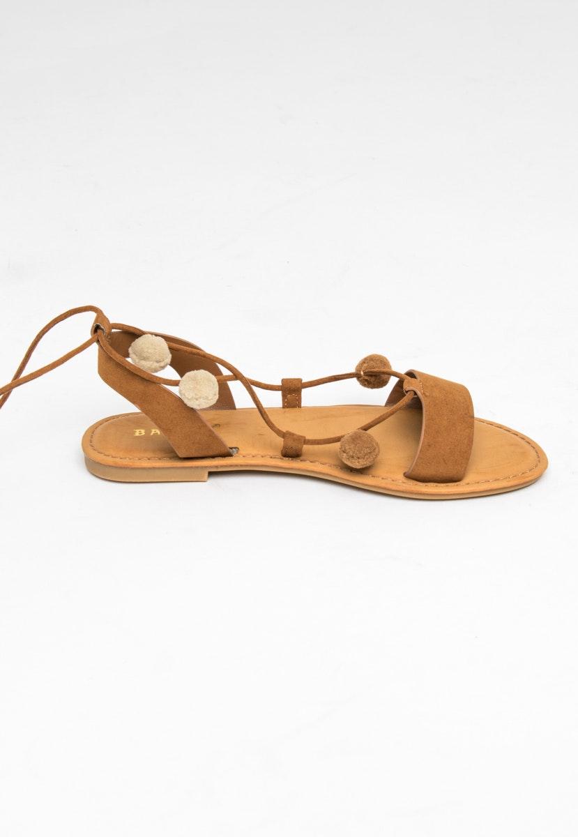 Wrap Pom Pom Sandals - Tan