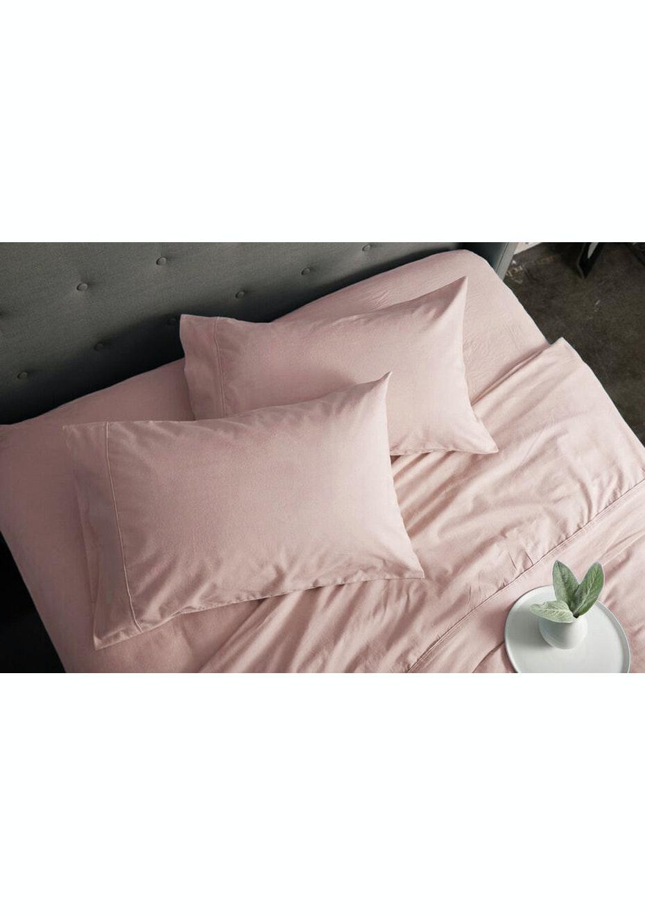 Charming Sheraton Flannelette Sheet Set King Single Bed   Cameo Pink   Sheraton  Luxury Flannelette Sheet Sets   Onceit
