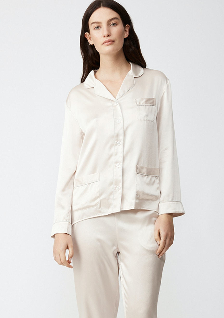 NATALIJA - Long-Sleeve Silk Pj Shirt - Champagne