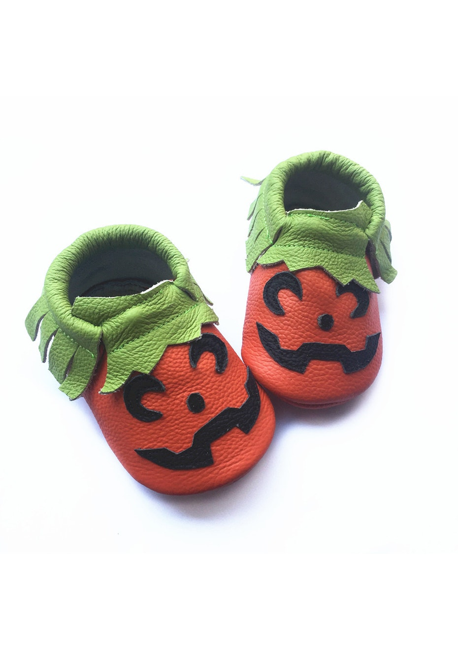 Baby  Leather Shoes - Pumkin / Green