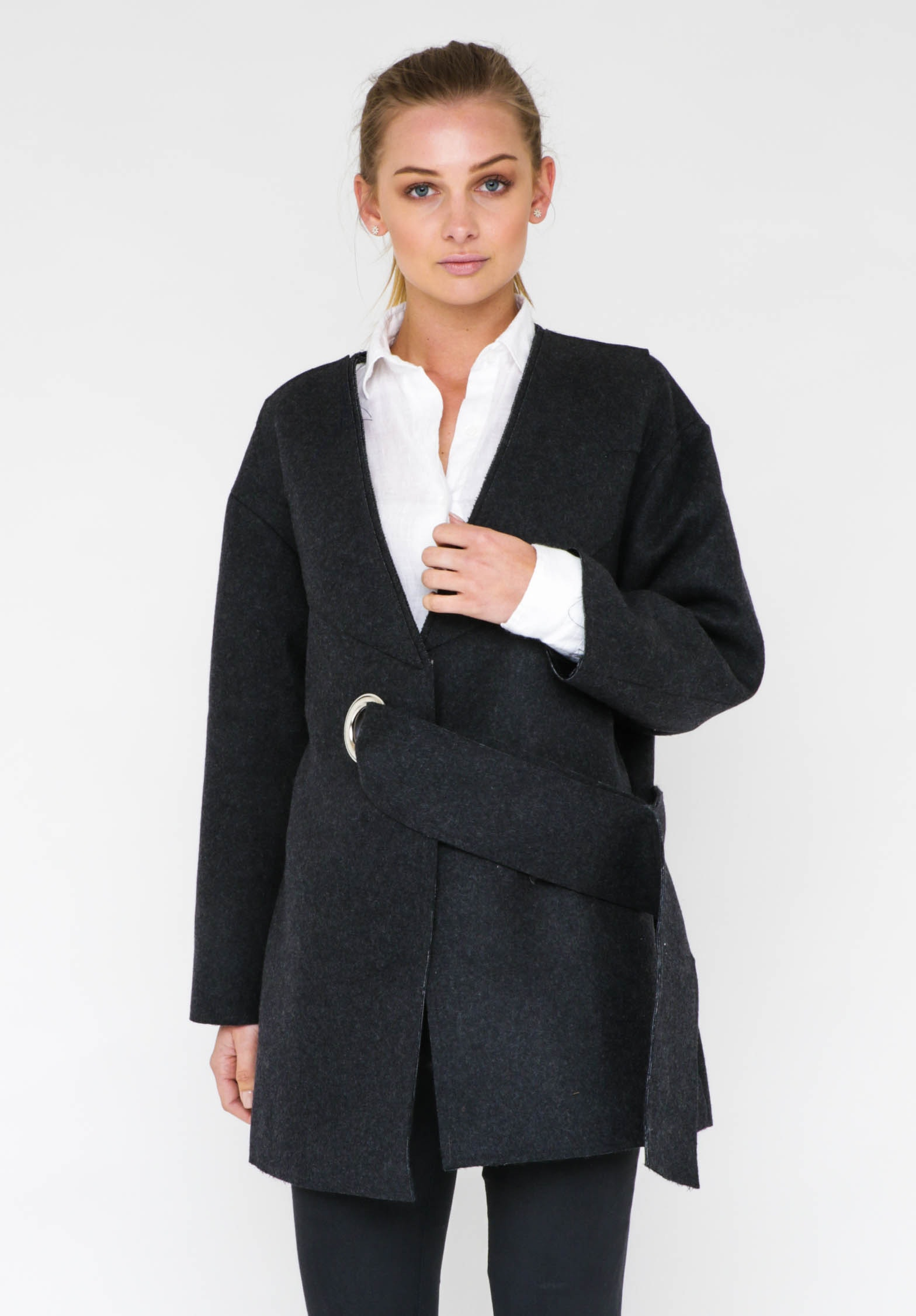 RING COAT  - DARK GREY