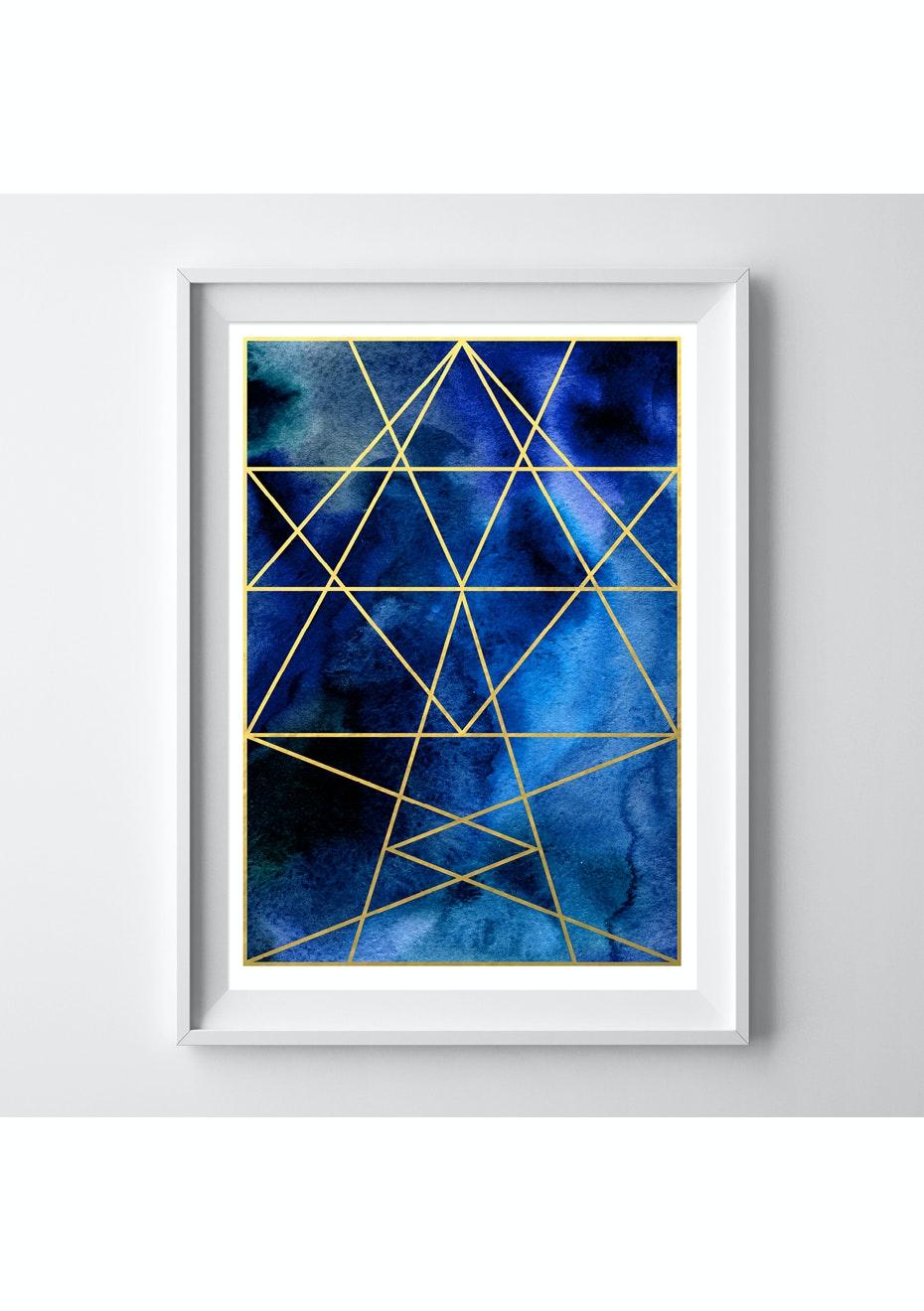 Simply Creative - Sapphire - A3 Gold Foil Print