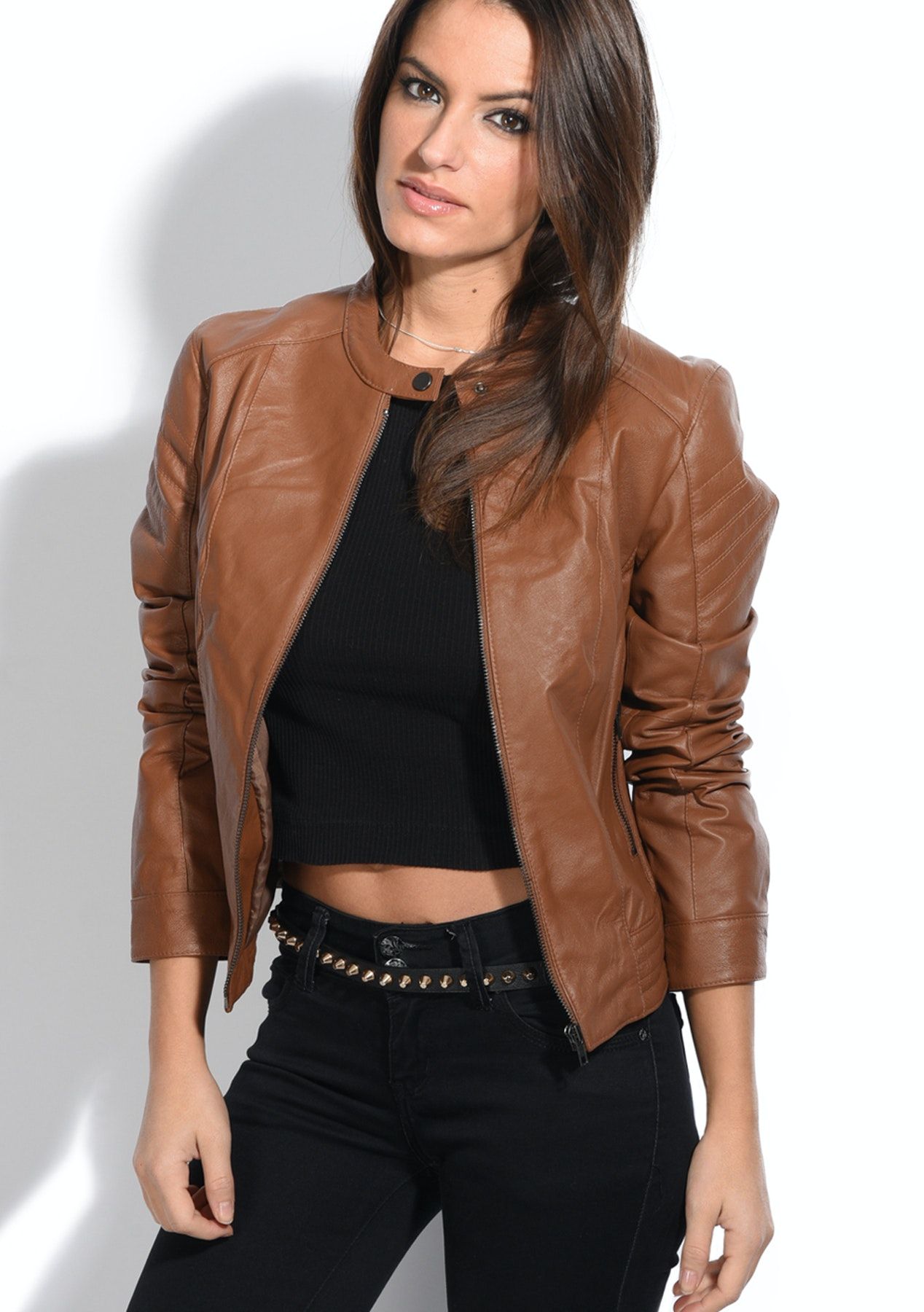 best authentic new selection many styles Genuine Leather Aline Womens Jacket - Camel