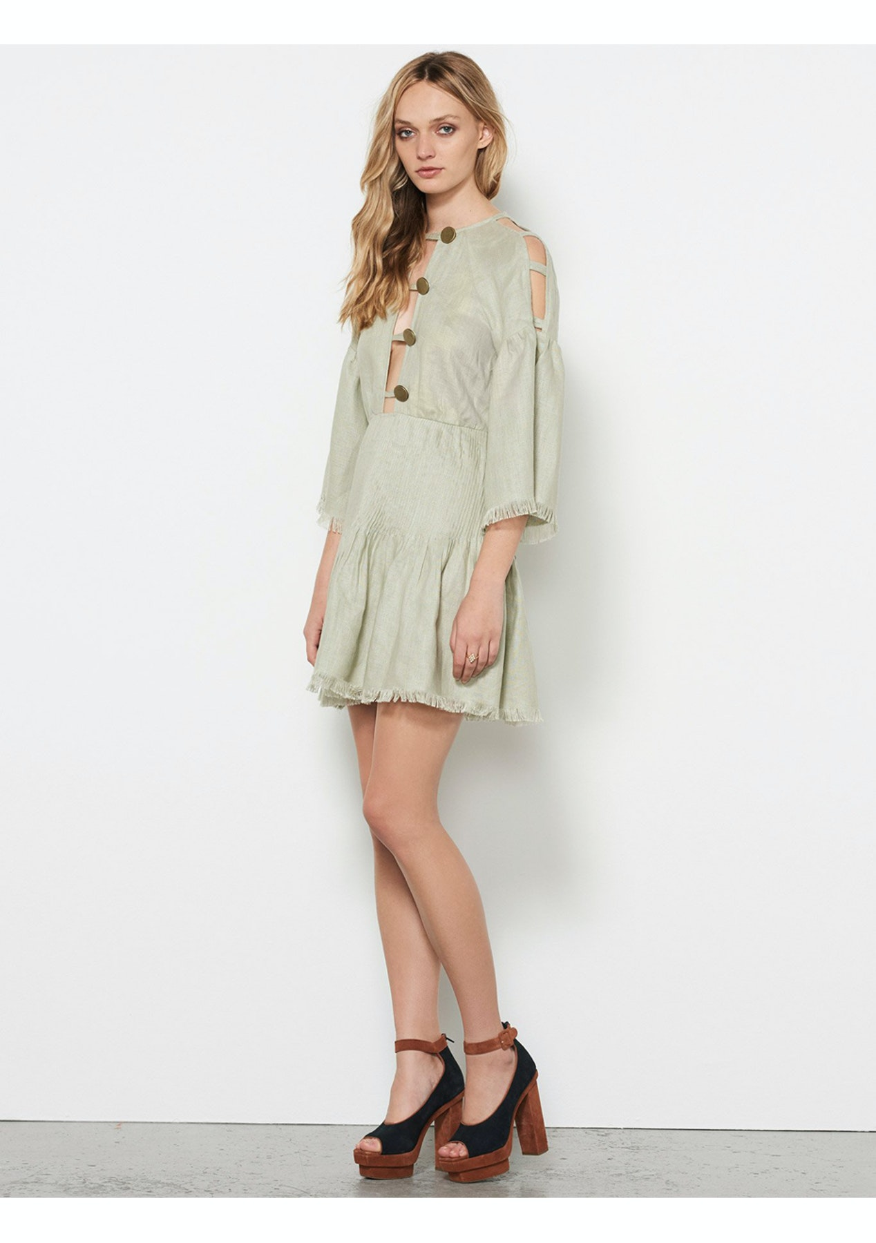 fa81eda79b Stevie May - Castello Linen Mini Dress - Sage - Stevie May