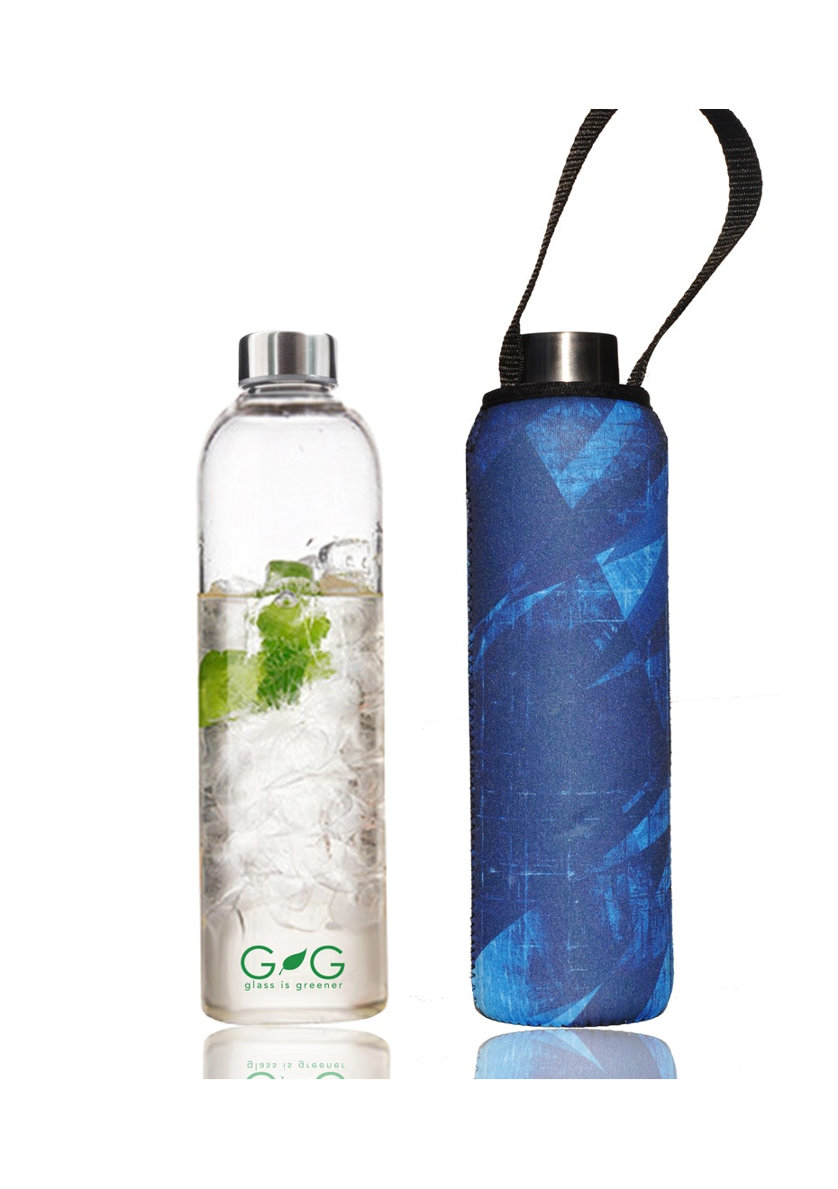 BBBYO - Glass Is Greener Bottle 750 ml + Carry Cover (Time Print) -750 ml